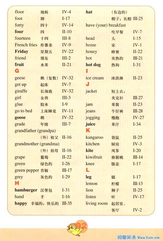 新版小学英语四年级下册课本Vocabulary