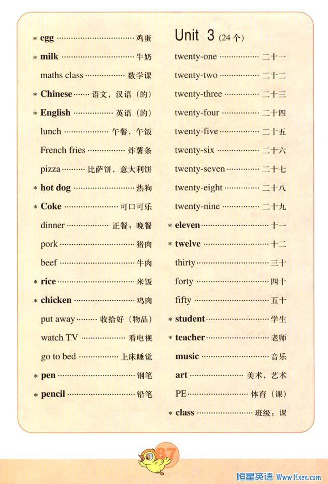 新版小学英语四年级下册课本Words in Each Unit