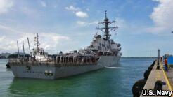 美国军舰与商船相撞 10名美军船员失踪
