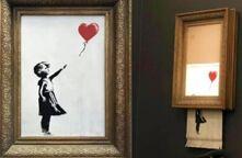 """班克西画作在拍卖成交时刻""""自毁"""" 惊呆众人 班克西:我干的"""